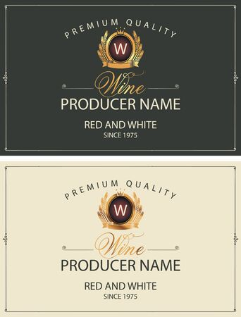 Set of two vector labels for red and white wine with golden coat of arms, crowns and calligraphic inscriptions in retro style Stock Illustratie
