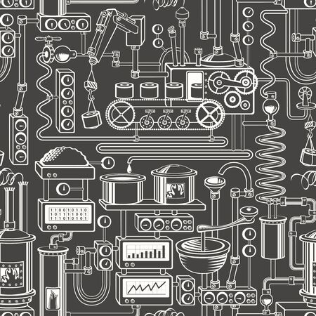 Vector seamless pattern on industrial theme with various production equipment Vectores
