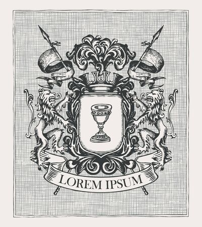 Vector heraldic Coat of arms in vintage style with knightly shield Çizim