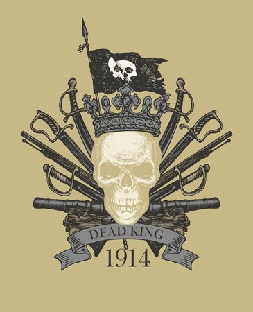 Vector heraldic Coat of arms in vintage style with human skull in crown, black flag, sabers, swords, cannons and ribbon.