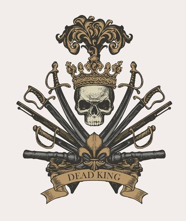 Heraldic Coat of arms in vintage style with human skull in crown, sabers, swords, cannons and ribbon.