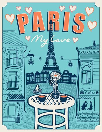 Vector banner or menu for Parisian street cafe with views of the Eiffel Tower and old buildings, with table for two in retro style on the blue