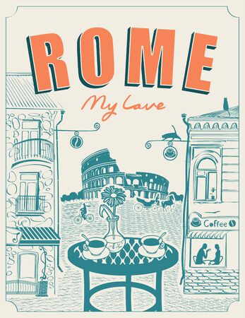 Vector banner or menu for Roman street cafe overlooking the Colosseum and old buildings, with a table for two in retro style