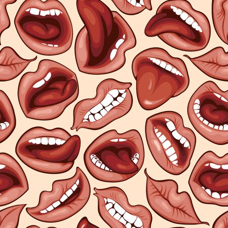 Vector seamless pattern with sexy woman lips with different emotions. Иллюстрация