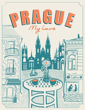 Vector banner or menu for Prague street cafe overlooking the old buildings, with a table for two in retro style.