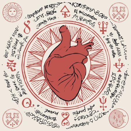 Red human heart, ancient hieroglyphs, medieval runes, spiritual symbols.