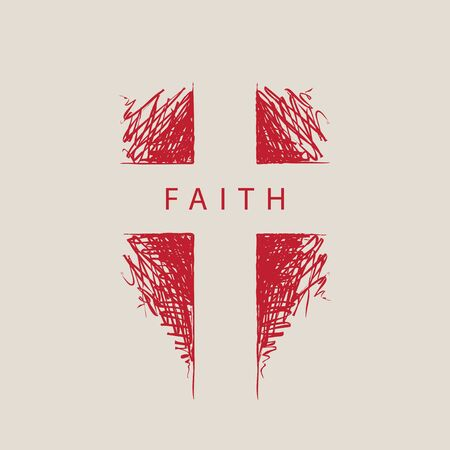 The sign of the abstract hand-drawn cross with the word faith. Religious symbol. Vector illustration. Red pencil drawing Stock fotó - 134377789