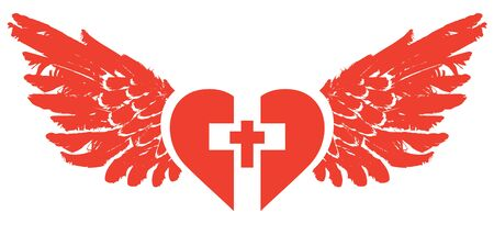 The sign of the white christian cross inside the red heart with wings. 일러스트