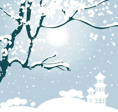 Vector illustration of winter snow landscape in Chinese style with snow-covered tree and silhouette of Chinese pagoda on the horizon