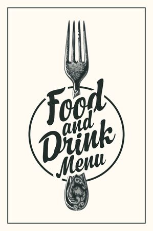Vector food and drink menu for restaurant or cafe with hand-drawn fork and calligraphic inscription in retro style on a light background
