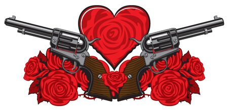 Vector banner on the theme of love and death. Template for clothes, textiles, t-shirt design. Illustration with two big old revolvers, heart, red roses and barbed wire on white background Çizim
