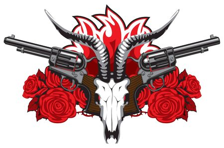 Vector banner with goat skull, red roses, big old revolvers and barbed wire isolated on white background. Suitable for design element for gun shop, t-shirt design, clothes, textiles, tattoo. Illusztráció