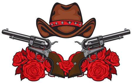Vector banner with two big old revolvers, brown cowboy hat and red roses isolated on white background. Template for clothing, t-shirt design, tattoo