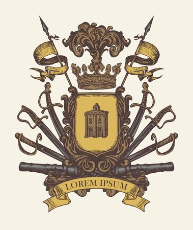 Vector heraldic Coat of arms in vintage style with knightly shield, crown, spears, sabers, swords, cannons, ribbon and castle. A medieval heraldry, royal emblem, sign, symbol. Old hand-drawn image.