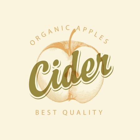 Vector label for Apple cider with a realistic image of half an apple and calligraphic inscription on a light background in retro style