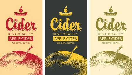 Set of vector labels for Apple cider with a realistic image of an apple and calligraphic inscription in retro style