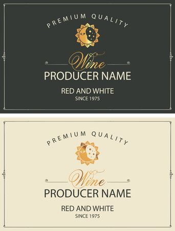 Set of two vector labels for red and white wine with golden sun, moon and calligraphic inscriptions in retro style  イラスト・ベクター素材