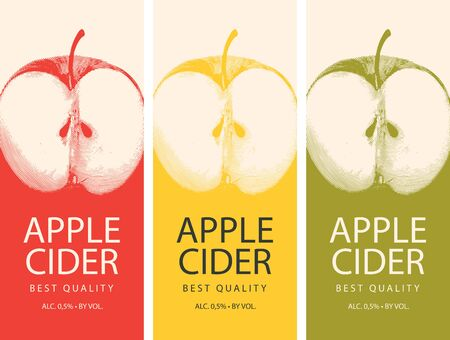 Set of vector labels for Apple cider with a realistic image of half an apple and calligraphic inscription on in retro style