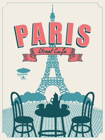Vector banner or menu for Parisian street cafe with view of the Eiffel Tower, with table and chairs for two in retro style. Romantic cartoon illustration with french landscape