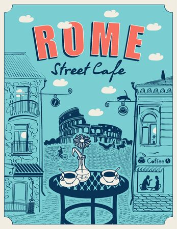 Vector banner or menu for Roman street cafe overlooking the Colosseum and old buildings, with a table for two in retro style on a blue background. Romantic cartoon illustration with Italian landscape Illustration