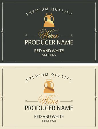 Set of two vector labels for red and white wine with golden jugs and calligraphic inscriptions in retro style