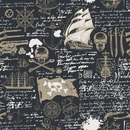 Vector abstract seamless pattern with skulls, crossbones, pirate flag, swords, guns, caravels and other nautical symbols. Vintage hand-drawn background with handwritten notes, ink blots and stains