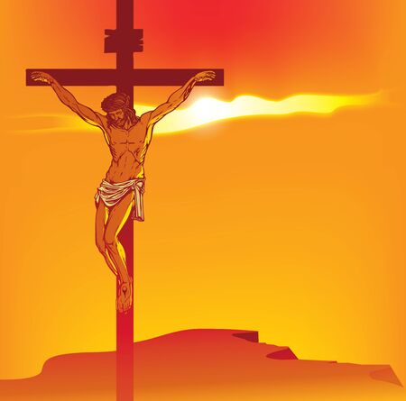 Vector illustration on religion theme with the mountain Calvary and the crucifixion. Cross with crucified Jesus Christ at sunset. Religious banner with the biblical story for Easter or Good Friday Illustration