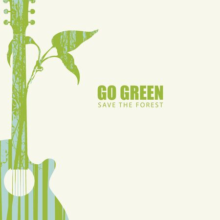 Vector illustration on the theme of environmental protection with the words Go green, Save the forest. Abstract poster in the form of guitar and twig with silhouettes of trees. Eco Poster Concept