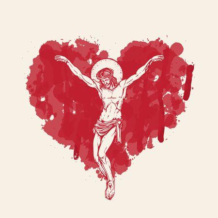 Vektorbanner mit Kruzifix. Religiöse Illustration mit gekreuzigtem Jesus Christus im abstrakten roten Herzen nach innen. Liebe Gottes, katholisches und christliches Symbol.
