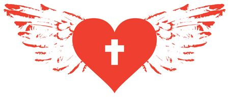 The sign of the white christian cross inside the red heart with wings. Love of God, religious symbol. Creative vector illustration. Illusztráció