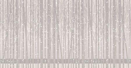 Patrón transparente de vector con árboles jóvenes. Bosque de invierno con abedules, álamos o álamos en la nieve. Fondo abstracto decorativo con esbeltos árboles cubiertos de nieve. Paisaje crepuscular Ilustración de vector