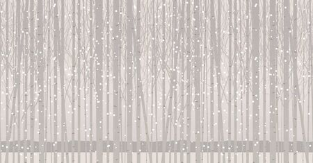 Vector seamless pattern with young trees. Winter grove with birches, poplars or aspens in the snow. Decorative abstract background with snow-covered slender trees. Twilight landscape