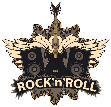 Vector music banner with lettering Rock and roll, electric guitar, speakers, white wings and fire. Creative modern illustration, suitable for flyer, poster, t-shirt design, tattoo, icon,  label Illustration