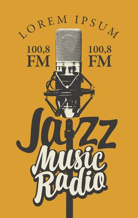 Vector banner for radio station with studio microphone and inscription Jazz music radio. Radio broadcasting concept. Suitable for flyer, ad, poster, placard