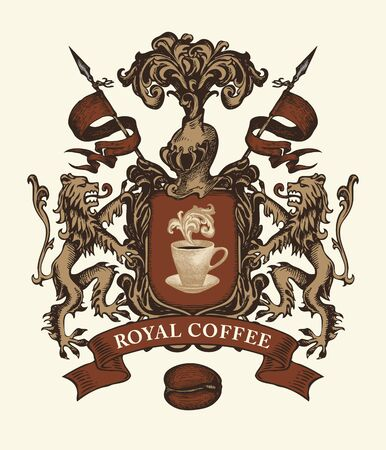 Vector banner on the theme of coffee house in form of hand-drawn medieval coat of arms. Coffee emblem in retro style with cup, coffee bean, shield, knight helmet, lions, spears , words Royal coffee