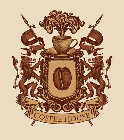 Vector banner on the theme of coffee house in form of hand-drawn medieval coat of arms. Coffee emblem with coffee bean, cup, shield, lions and spears in retro style Illusztráció