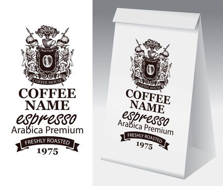 Paper package with label for freshly roasted coffee bean. Vector label for coffee with hand-drawn medieval coat of arms and paper 3d package with this label. Illusztráció