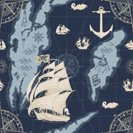 Vector abstract seamless pattern in retro style on the theme of travels, adventures. Pirate frigates, caravels, vintage sailing yachts, wind roses and anchors on the background of old map with islands