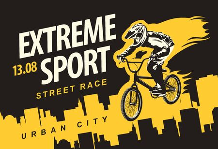 Vector banner or flyer with cyclist on the bike and words Extreme sport on the urban background. Poster for street race, bicycle club, extreme sports in modern style 向量圖像