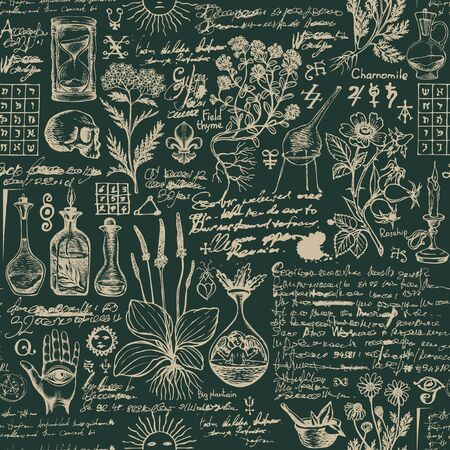 Vector seamless pattern on the theme of medicine and herbal treatment in retro style. Repeatable background with hand-drawn sketches, unreadable notes, various herbs and old medical symbols, blots. 向量圖像
