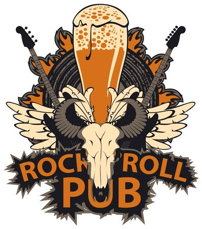 Vector banner with lettering Rock and roll pub, bull skull, electric guitars, white wings, beer glass and fire. Creative modern illustration, suitable for flyer, poster, menu, t-shirt design, tattoo