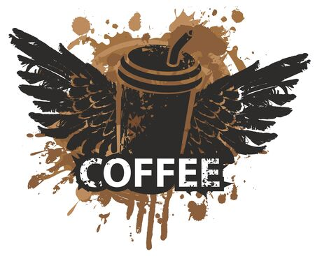 Vector image with a disposable paper coffee cup with straw and wings on the background of coffee stains and splashes in grunge style. Creative abstract banner on the theme of coffee and coffee house Ilustração