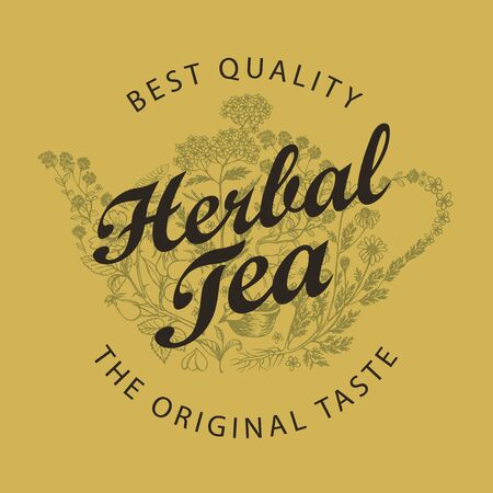 Vector banner for a herbal tea with doodle elements and calligraphic inscription. Illustration with a teapot or kettle consisting of various hand-drawn herbs in retro style. Иллюстрация