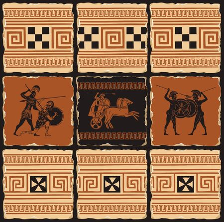 Vector banner on the theme of Ancient Greece in form of a set of stone tiles, clay or ceramic tiles. Illustrations with Greek ornaments and ancient Greek soldiers with shields, spears, in a chariot