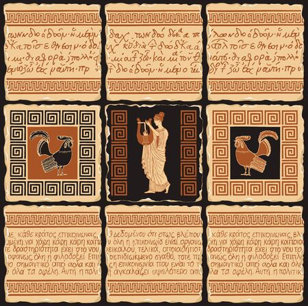 Vector banner on the theme of Ancient Greece in the form of a set of stone tiles, clay or ceramic tiles. Illustrations with illegible Greek writings, ornaments and ancient Greek musician with lyre Stock fotó - 136592137