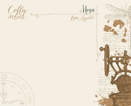 Vector coffee shop menu with a place for the price list, with a hand-drawn coffee grinder, clock, dragonfly and handwritten inscriptions on a light abstract background with illegible notes and blots