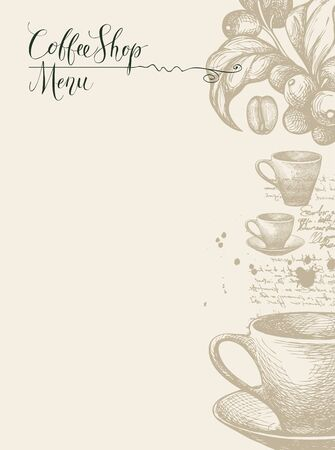 Vector Coffee Shop menu with pencil drawings and a place for price list. Hand drawn cups, sprig of coffee tree, coffee beans and inscriptions on abstract background with unreadable script and blots