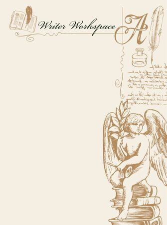 Vector banner on a writer's theme with sketches and place for text. Writer workspace. Artistic illustration with hand-drawn angel, inkwell, feather and unreadable handwritten notes in retro style Vecteurs