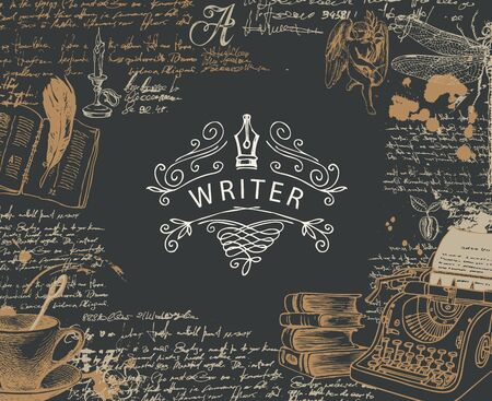 Banner de vector sobre un tema de escritores con bocetos y lugar para texto en estilo retro sobre fondo negro. Ilustración abstracta con máquina de escribir dibujada a mano, libros, ángel, libélula, notas escritas a mano