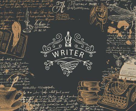 Bannière vectorielle sur un thème d'écrivains avec des croquis et place pour le texte dans un style rétro sur fond noir. Illustration abstraite avec machine à écrire dessinée à la main, livres, ange, libellule, notes manuscrites